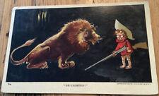 Vintage Postcard Wild Animal Series Boy Rifle Gun Lion De-lighted