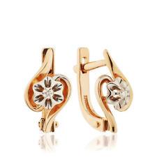 Earrings NEW Gold Rose 14K diamonds Russian fine jewelry USSR style 585 2.14g