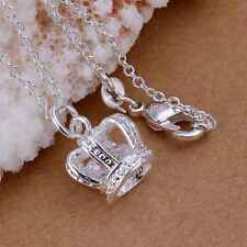 Hot 925Sterling Solid Silver Jewelry Crystal Crown Chain Pendant Necklace P162