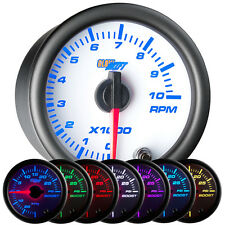 """52mm 2 1/16"""" White 7 Color GlowShift Tach Tachometer Gauge w. Clear Lens"""