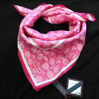 """NWT COACH Pink Signature Optic Silk Square 21"""" Neck Scarf NEW"""