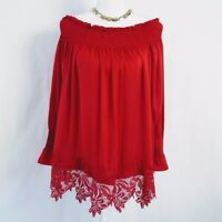 NWT Philosophy Red Lace Hem Off The Shoulder Swing Top Tunic Blouse XS