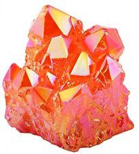 Healing Stone Orange Titanium Coated Crystal Cluster, Geode Druzy Gemstone Decor