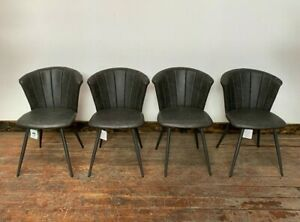 SET OF 4 GREY DINING CHAIRS / SHELL BACK STYLE / VEGAN FAUX LEATHER / METAL BASE