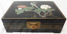 Beautiful Vintage Chinese Jewelry Box Wood Black Lacquer Enamel