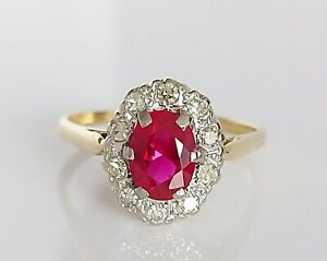 Beautiful Vintage 18ct Gold & Platinum 1.40ct Ruby & Diamond Cluster Ring UK U