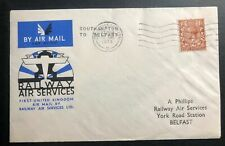 1934 Southampton England First Flight Cover Ffc to Belfast Railway Airmail