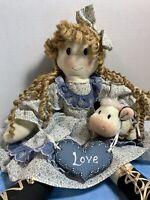 """Country Folk Art Rag Doll w Plush Cow Blue Floral Shelf Sitter 17"""" Tall"""