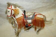 "Mid-Century Japanese 7"" White Samurai War Horse Regalia Paper Mache Japan"