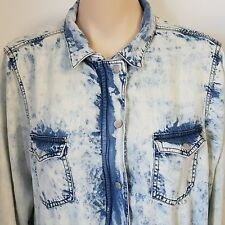 Love & Legend Lightweight Jean Jacket Acid Washed Bleached Women's Size 14