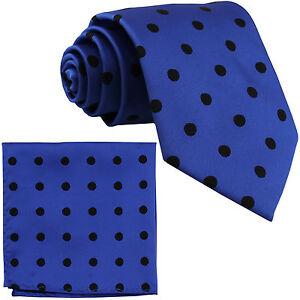 New Brand Q Men's Polyester Necktie & Hankie set Royal blue_black Polka Dots