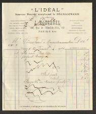 """PARIS (IV°) IMPRIMERIE / IMPRESSIONS sur OBJETS """"L'IDEAL / J. MONGRUEL"""" en 1909"""