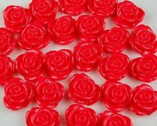 25 Red Flowers Resin Flatbacks Scrapbooking Cabochons Bow Jewelry Making Craft