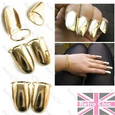 4pcs NAIL RINGS metal GOLD PLATED NAILS claw FINGERTIP talon FINGER TIP claws