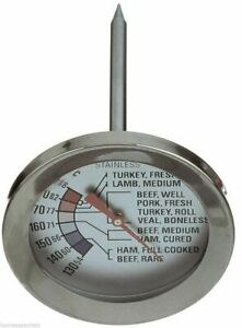 """Grunwerg 3"""" Dial Meat Thermometer Analog Stainless Steel Beef Lamb Turkey"""