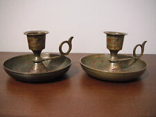 Vintage Pair of Brass Etched Candlestick Holders Candle Holders Made in India