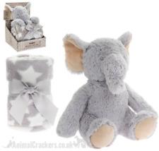 Plush fluffy Elephant Blanket & Soft Toy Children Baby Christening Gift Set