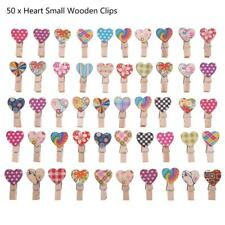 50pcs Love Heart Small Wooden Clothespin Craft Clips DIY Photo Cards Peg Decor