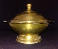 Vintage Brass Lotus Pedestal Lidded Compote Covered Prayer Bowl Signed India
