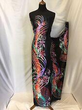 "NEW Designer Silky Soft Poly Satin Floral Wavy Print Fabric 57"" 147cm Dress Art"