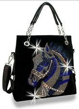 DAZZLING WESTERN RHINESTONE HORSE COWGIRL CROSS BODY MESSENGER BAG PURSE BLACK 1