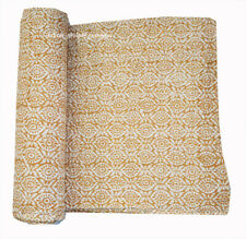 New Indian Cotton Kantha Quilt Twin Bedspread Coverlet Hand Block Print Bedding