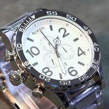 NEW NIXON 51-30 CHRONO High Polish Silver White WATCH A083-488 MEN GIFT, SALE!