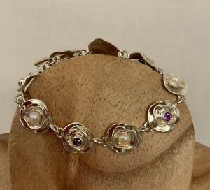 VTG HAGIT GORALI ISRAEL Sterling Silver Pearl Flowers With Amethyst Bracelet