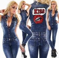 Tuta jeans overall donna blu scuro smanicata skinny bacio kiss paillettes nuova