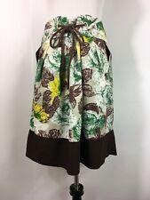 Lee Mathews Skirt Brown Green Size 2 (US 6) Cotton Floral Cinch Waist Midi