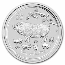 2019 5 oz $8 Silver Lunar Year of The Pig BU Coin Australian Perth Mint In Cap