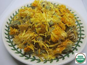 Organic Calendula Flower - 4 oz - USDA certified organic Whole Loose Flower