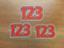 3 x Custom Race Number Stickers For Motocross Dirt Bike Kart Off Roading