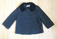 Jigsaw Jacket 12 Grey 100% WOOL Collar Winter Warm Coat Pocket A line Smart