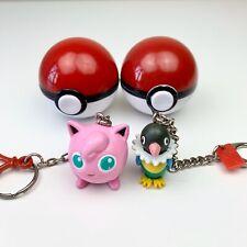 Set of 2 Pokemon Keychains in Pokeballs Chatot and Jigglypuff