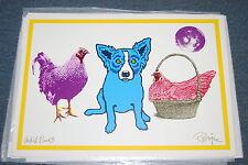 George Rodrigue Blue Dog Chicken In A Basket White Silkscreen Print Signed Art