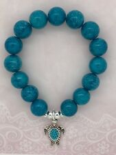 Turquoise Colour Spray Dyed Bead Bracelet - Silver Colour Cute Sea Turtle Charm