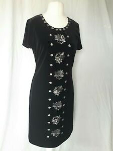 ENCHANTED Dress By Ann Louise Roswald Size 14 Black Velvet sequins party wedding