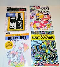 Lot of 4 Kappa Creative Adult Coloring Dot-to-Dot Color by Number Picture Maze