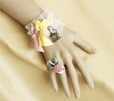 Bracelet femme bague tissu Plissé beige crème noeud satin rose jaune rose cage