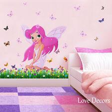 Rosa Hadas Princesa Pegatinas de pared Vivero Bebé Niños Niñas Habitación Calcomanía Arte