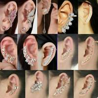 Elegant Crystal Clip Ear Cuff Stud Women's Punk Wrap Cartilage Earring Jewelry