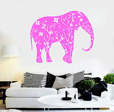 Vinyl Wall Decal Elephant Animal Floral Ornament Stickers Mural (ig4401)