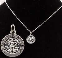 "16"" to 24"" Silver Plated Mens St Saint Michael Pendant Womens Necklace Chain New"
