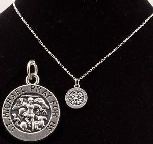 """16"""" to 24"""" Silver Plated Mens Womens St Michael Pendant Unisex Necklace Chain"""