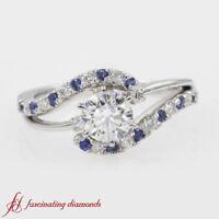 1 Ct. Round Diamond 3 Stone Swirl Platinum Engagement Ring With Sapphire Accents