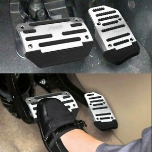 Non-Slip Car Automatic Gas Brake Foot Pedal Pad Cover Accessories Kit Set Silver