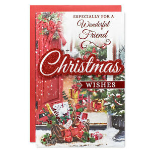 FRIEND CHRISTMAS CARD ~ TRADITIONAL DESIGN - QUALITY CARD & LOVELY VERSE