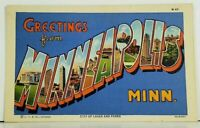 MN MINNEAPOLIS MINNESOTA Large Letter Greeting c1940 Postcard A2