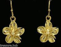 E050- Real SOLID 9ct Gold Genuine Natural Diamond Frangipani Drop Earrings